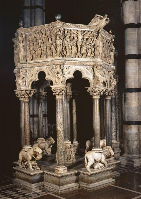 Nicola Pisano, Pulpit, Pisa Baptistery, and Giovanni Pisano, Pulpit, Sant'Andrea church, Pistoia